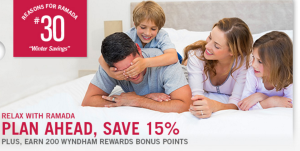 Get 15% OFF your stay at Ramada Hotels when you book at least 7 days in advance + 200 Wyndham Rewards bonus points.